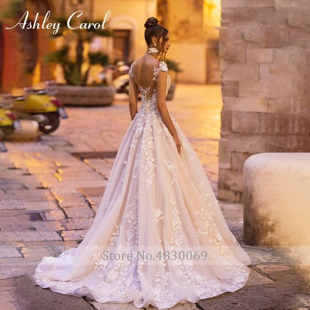 Ashley Carol A-Line Wedding Dress 2021 Backless Off the Shoulder Beaded Lace Appliques Princess Bride Dresses Beach Bridal Gown 3