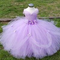 1 8Y Lavender Princess Flower Girl Dress Kids Birthday Pageant Wedding Bridesmaid Tutu Dresses Pink Party