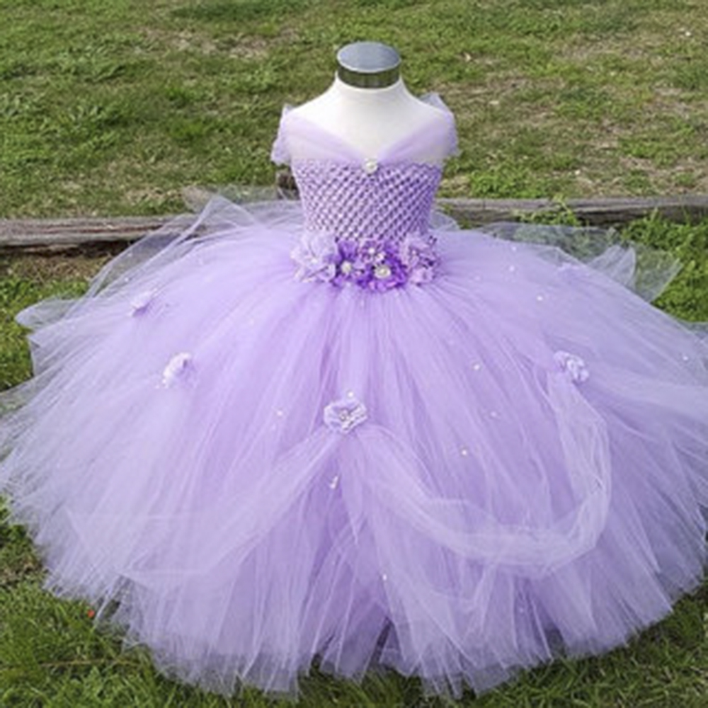1-8Y Lavender Princess Flower Girl Dress Kids Birthday Pageant Wedding Bridesmaid Tutu Dresses Pink  Party Dress for Girls kids baby white wedding pageant bridesmaid dress children girl petal party flower tutu dresses