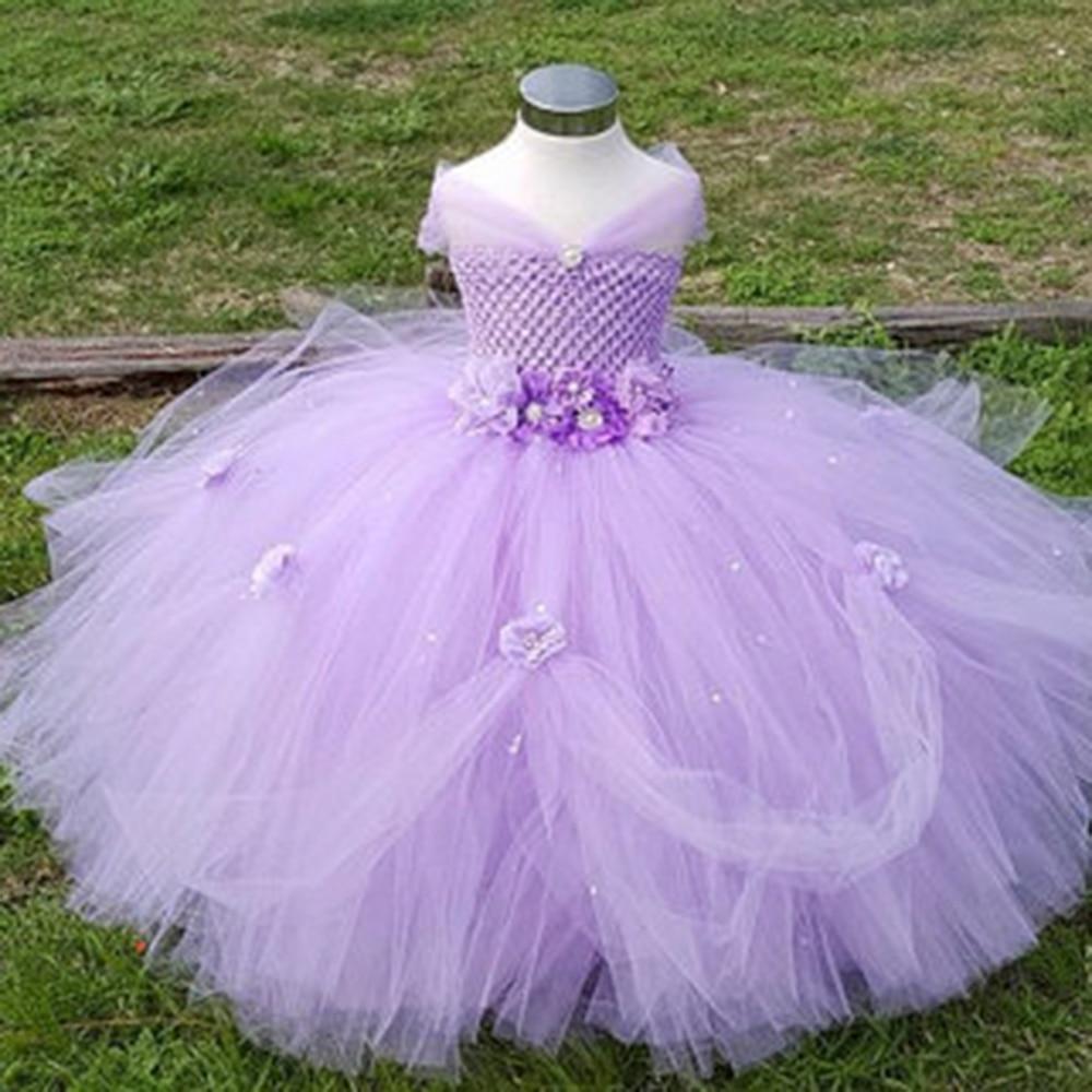 1-8y princesa lavanda Flower Girl vestido niños cumpleaños boda tutú ...