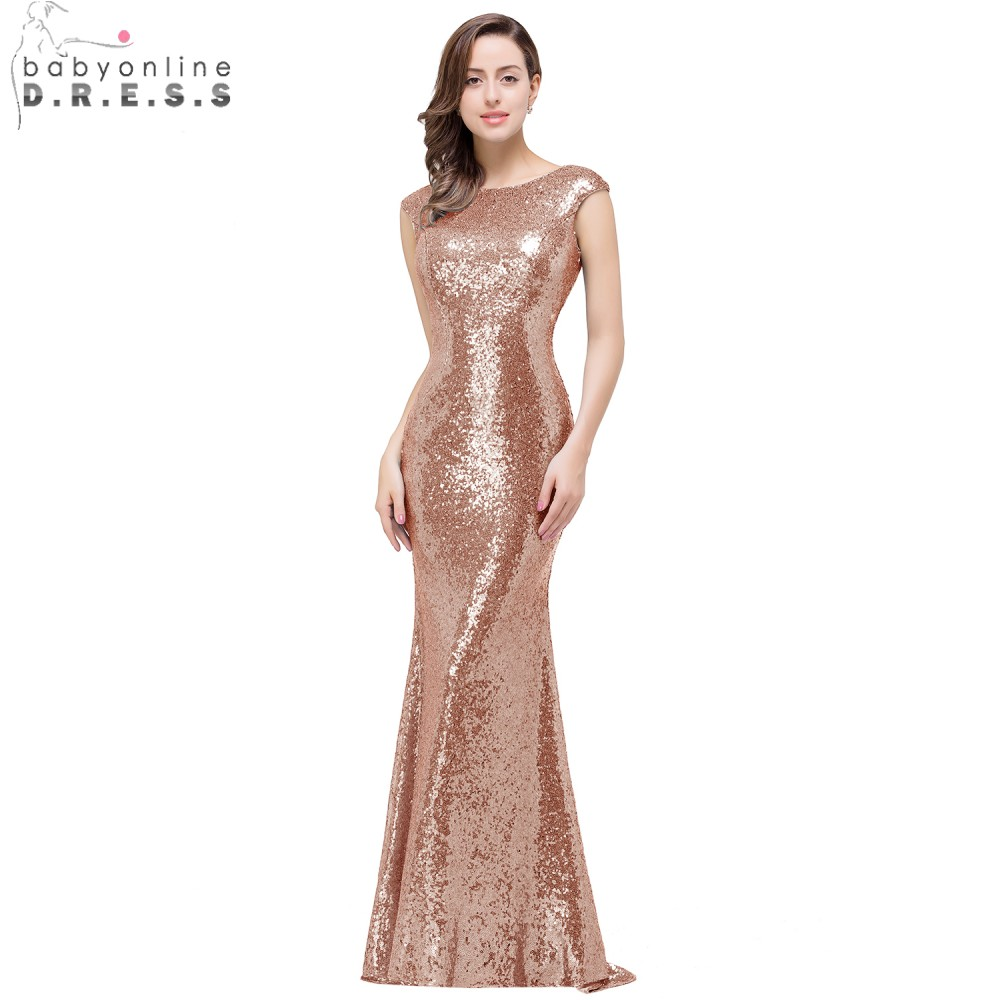In Stock Babyonline Rose Gold Sequin Mermaid Prom Dresses Cap
