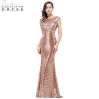 In Stock Babyonline Rose Gold Sequin Mermaid Prom Dresses Cap Sleeves Formal Party Gowns 2018 Sexy