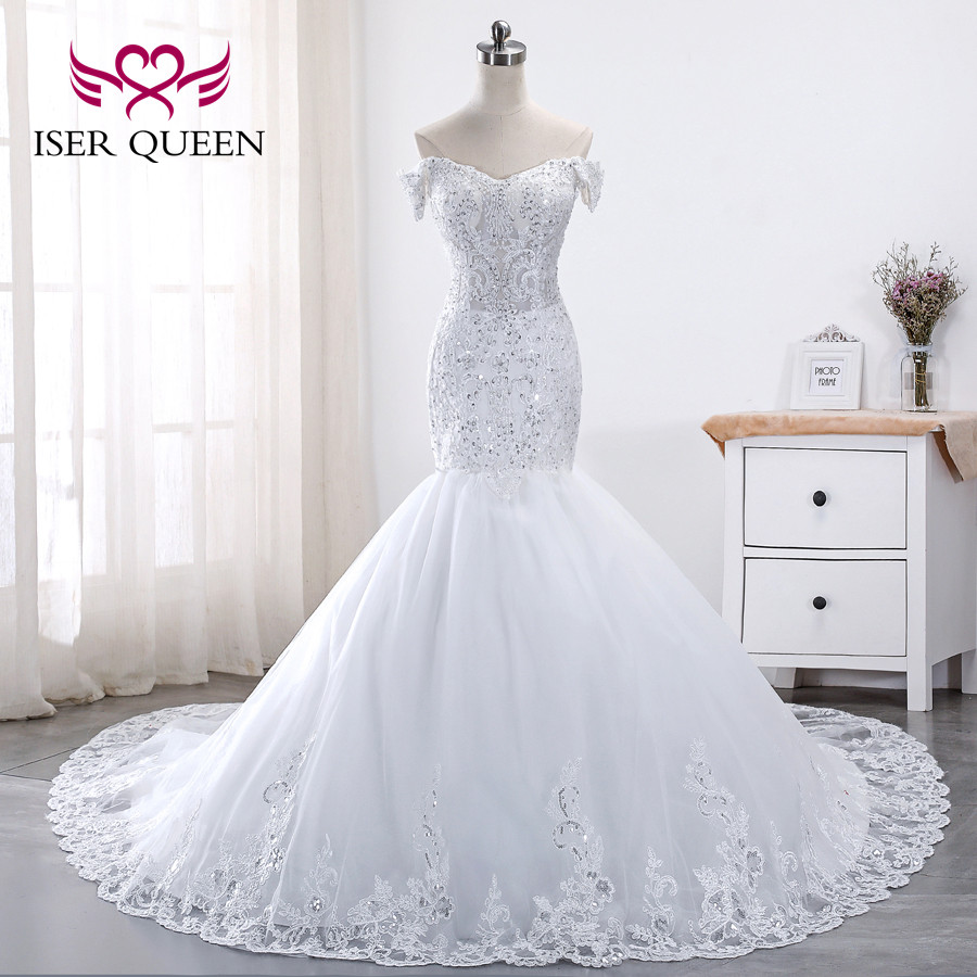 Pure White Lace Wedding Dress 2019 Mermaid Style Cap
