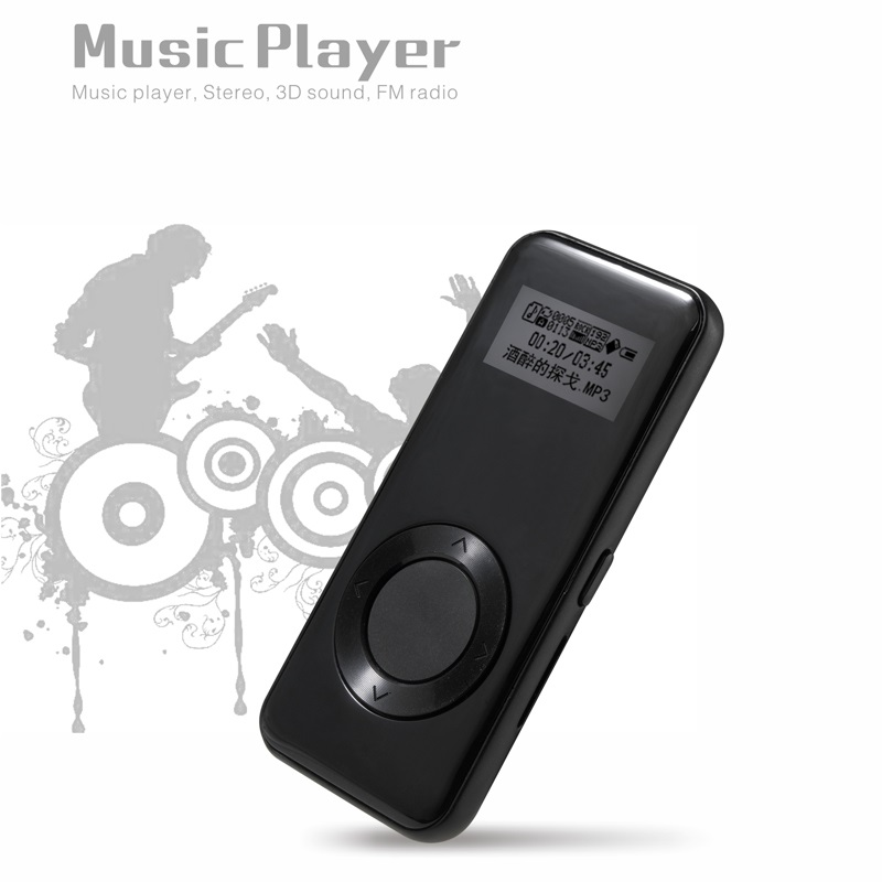 BENJIE Mini MP3 K3 8GB Thinner MP3 Music Player Stereo 3D Sound FM Record E-Book Metal MP3 Sport with Earphone Languages