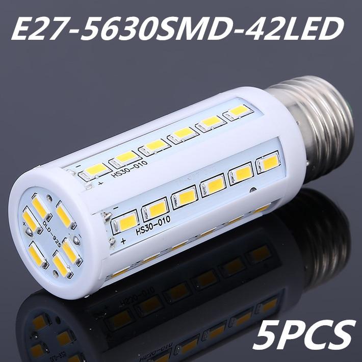 5 шт./лот, 10 Вт 5630 5730 SMD 42 светодиодный 220 V E27 кукурузы лампы Холодный/теплый белый светодиодный свет Энергосберегающая светодиодная лампа