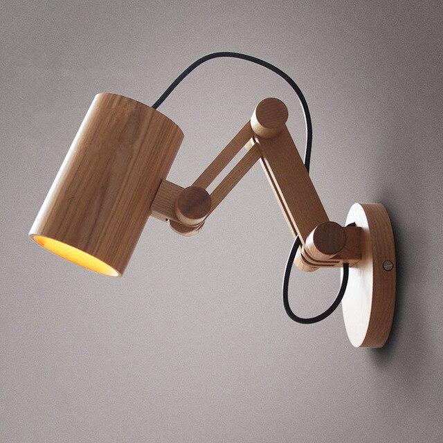 roble moderna lmpara de pared de madera luces para dormitorio iluminacin aplique de pared de - Lamparas De Madera