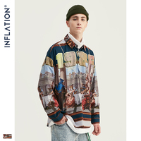 INFLATION Mens Digital Printing Shirt Men Harajuku Hip Hop Shirt Long Sleeve Streetwear Shirts Oversized Men Brand Shirt 92143W