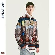 INFLATION Mens การพิมพ์ดิจิตอลผู้ชาย Harajuku Hip Hop เสื้อแขนยาว Streetwear เสื้อผู้ชายขนาดใหญ่เสื้อแบรนด์ 92143W