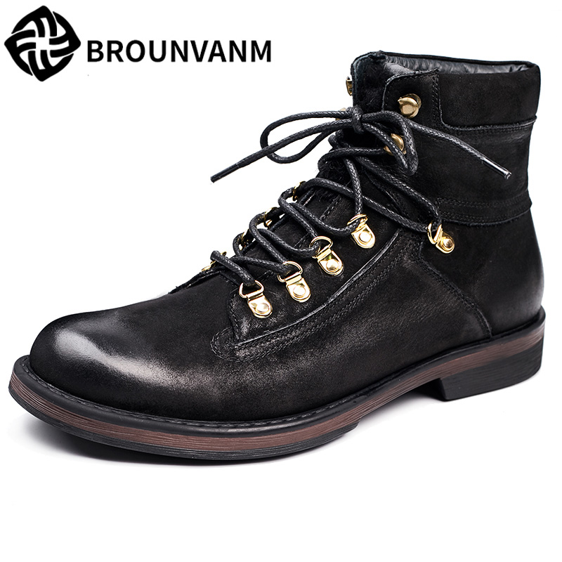 autumn winter British retro men casual boots Martin matte high shoes men boots leather boots trend of Korean breathable men british thick boots retro martin shoes trend men s short boots autumn and winter korean men s boots leather frock shoes