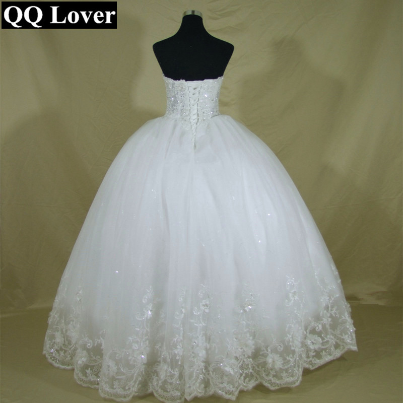 Image 3 - QQ Lover 2019 New Pearls Beaded Ball Gown Wedding Dress Luxury Bridal Gown Vestido De Noiva-in Wedding Dresses from Weddings & Events
