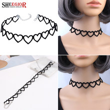 Black Hollow Heart Choker Necklace Women Accessories Lovely Flannelette Cotton Chain Short Collar Necklace Fashion Jewelry Gift(China)