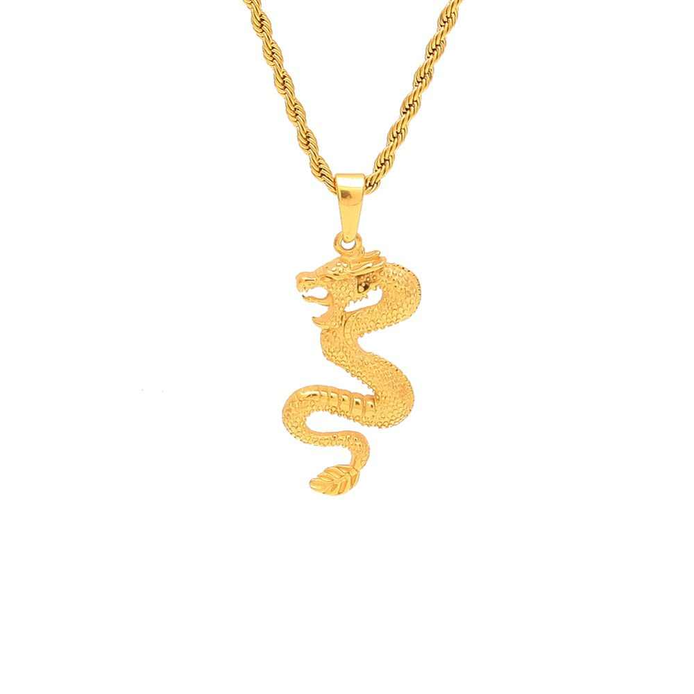 Gold Color Stainless Steel dragon shape pendant necklaces Men Hiphop/Rock fashion vintage male necklace jewelry gifts