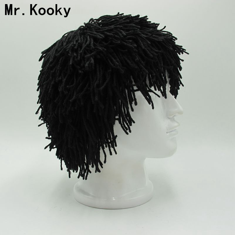 Mr.Kooky Bandana Hobo Caveman Wig Beanie Winter Warm Hat Handmade Knit Skullies Men Women Gorros New Halloween Gifts Funny Caps