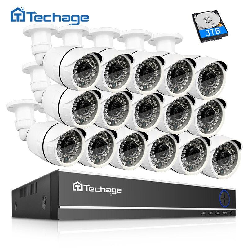 Techage 16CH caméra de sécurité Système 1080N AHD DVR Kit 16 pièces 2.0MP 1080 P IR Extérieure caméra cctv P2P Vidéo Surveillance Ensemble 3 TB