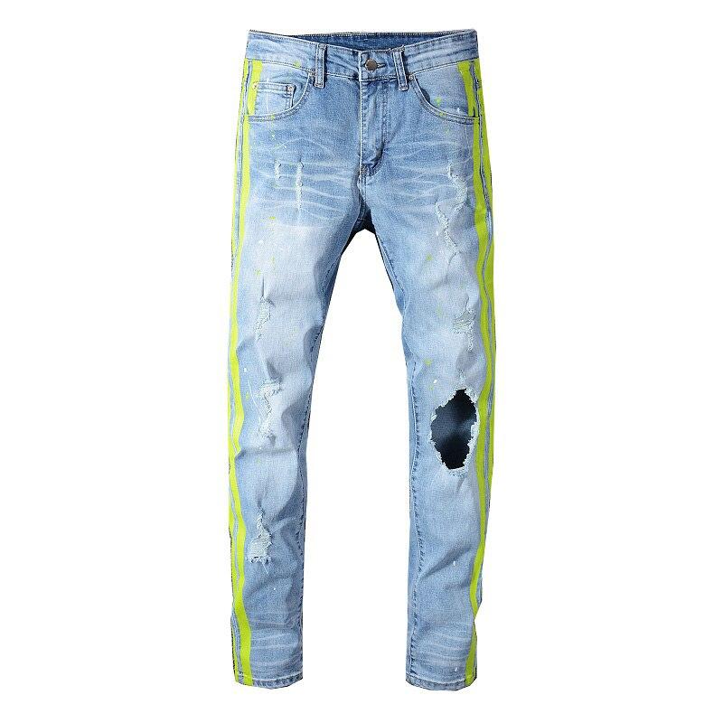 Sokotoo hommes néon jaune couleur lignes patchwork déchiré jeans mode trous détruit denim stretch pantalon