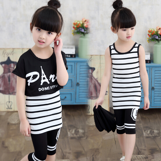 Summer Girls Clothing Sets Kids Set Children Sport Suit Teenage Girl Striped Vest +T-shirt +Shorts 3 Pieces Set Girl Clothes