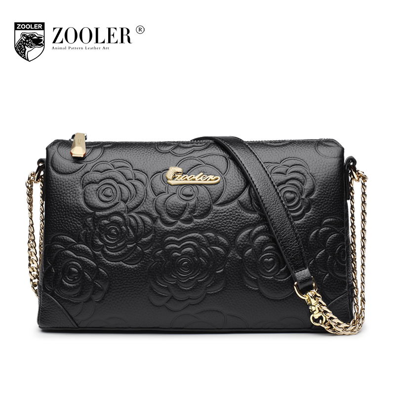 ZOOLER Brand Women Embossed Floral Flap Bag 2017 Female New Fashion Chains Flower Shoulder Bag Ladies Evening Day Clutches Bags