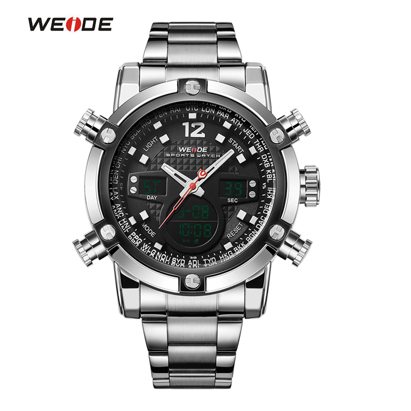WEIDE Sport Watch Luxury Brand Dual Time Zone Black LCD Dial Alarm Steel Strap Relogio Quartz Digital Military Men Wristwatch weide casual genuin brand watch men sport back light quartz digital alarm silicone waterproof wristwatch multiple time zone