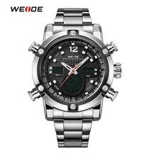WEIDE Reloj Deportivo de Lujo A Estrenar Dual Time Zone Negro LCD Alarma Dial Acero Correa Relogio Cuarzo Militar Hombres Reloj Digital