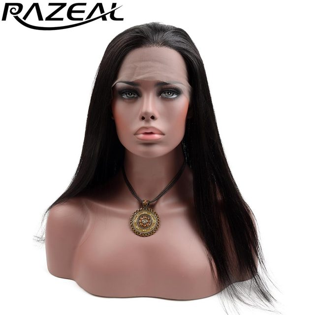 Razeal Glueless Heat Resistant Fiber Hair Free Part Long Straight Black Synthetic Lace Front Wig for African American Women