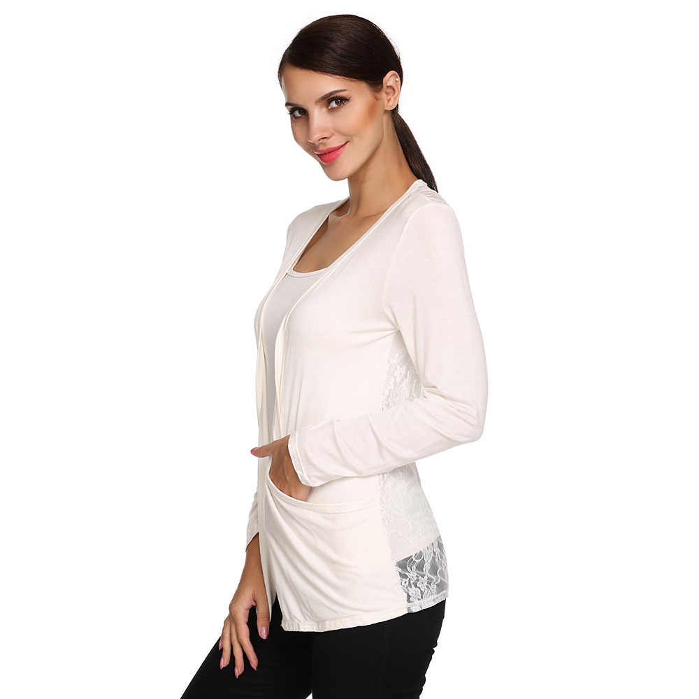Meaneor New Brand 2015-2017 Fashion Lady Women Casual Long Sleeve Lace Back Patchwork Black White Cardigan Plus Size M,L,XL,XXL