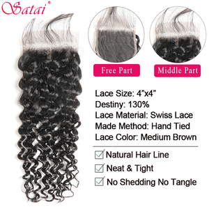 Image 3 - Satai Hair Extension Water Wave 3 Bundles With Closure 100% Human Hair Bundles With Closure Peruvian Hair Bundles Non Remy Hair