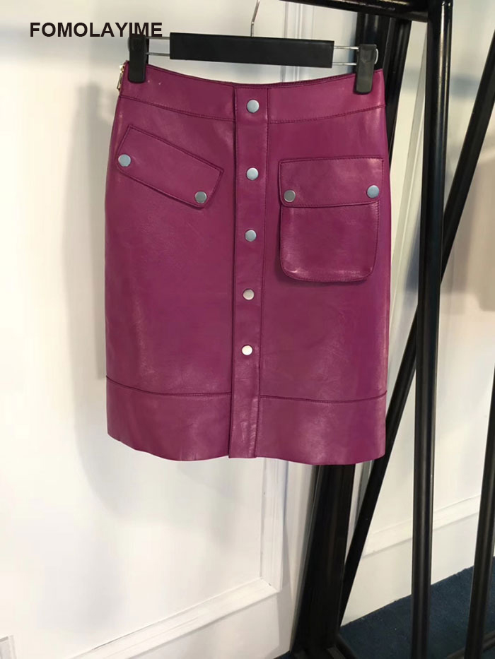 2018 Skirt Leather Jupes Crayon Jupe Nouvelle Automne Fomolayime Skirt Arrivée Véritable De En Européenne Mode Femmes Cuir leather 6TExdwqd