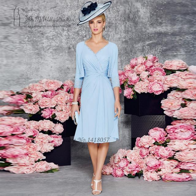 Gorgeous Azul Madre de la Novia Vestidos de novia Perlas de la Chaqueta de Traje Pantalón de Gasa de La Boda Vestidos De Madrina Vestido Madrina
