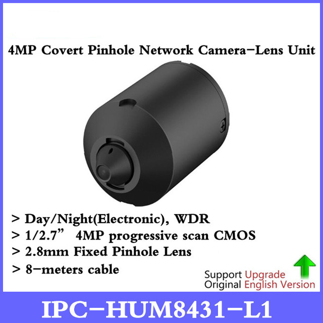 DH PC-HUM8431-L1 4MP Covert Pinhole Network Camera Sensor Unit 2.8mm Fixed Pinhole Lens Day/Night WDR IP Camera Metal case 4mp poe dahua covert pinhole camera main unit ipc hum8431 e1 h 265 support smart detection and sd card metal case