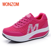 WONZOM 2018 Spring New Arrival Women Vulcanized Shoes Platform Height Increasing For Female Lady Summer Casual