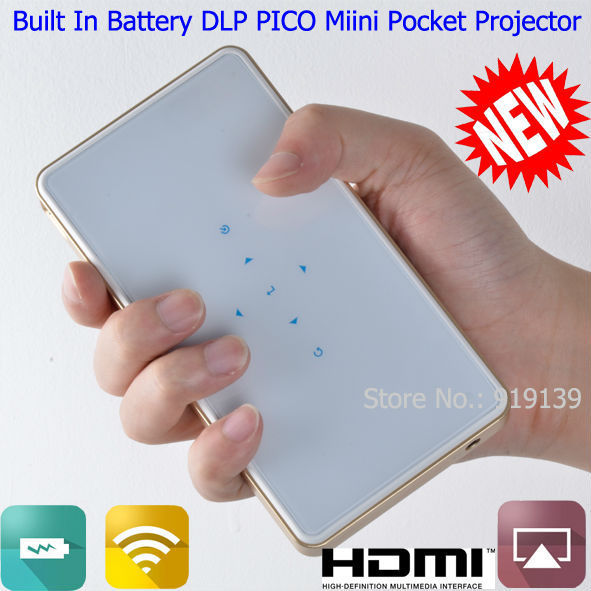 Regalo especial venta Pico Portable Mini incorporado en la batería DLP Wifi pantalla HDMI USB Beamer vídeo de bolsillo Projecteur