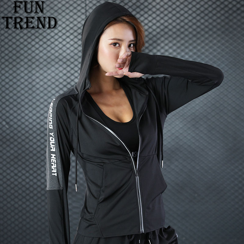 Jacket Coat Hoodies Women Sport Jacket Zipper Hoodie Sweatshirt Yoga Shirt Sport Shirt Sport Tracksuit Fitness Clothing Yoga Top latest new printed yoga sport jacket women anti sweat nylon running jogger coat elastic fitness jacket top with thumb holes
