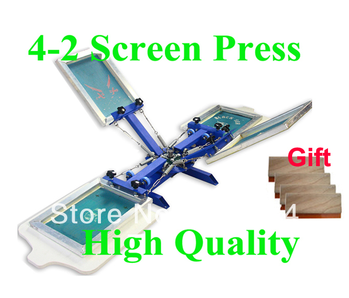 FREE shipping discount with Gift 4 color 2 station silk screen printing machine tshirt printer press equipment carousel squeegee free shipping discount cheap 2 pcs silk screen printing squeegee 24cm 33cm 9 4 13inch ink scaper tools materials