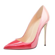 Brand Super Thin High Heels Pumps Patent Leather High Quality Pointed Toe Pumps Party Wedding Gradient Color Shoes C006B craylorvans top quality black nude gradient color 12 10 8cm women pumps pointed toe high heels patent leather women party shoes