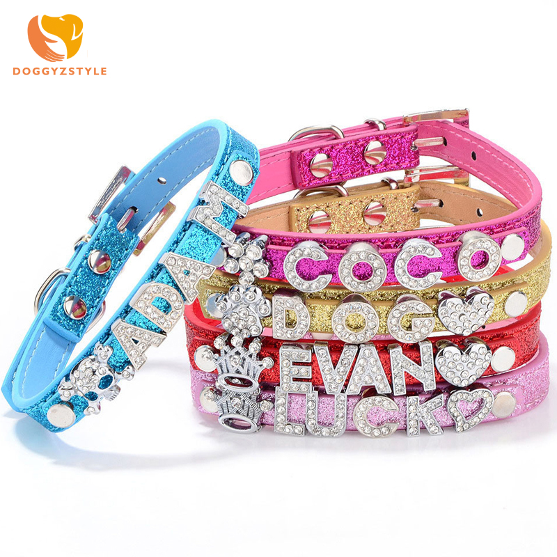 Personalized DIY Name Dog Collars Bling Pet Dog Collar With Diamond Buckle Puppy Cat Letters Charms For Teddy French Bulldog