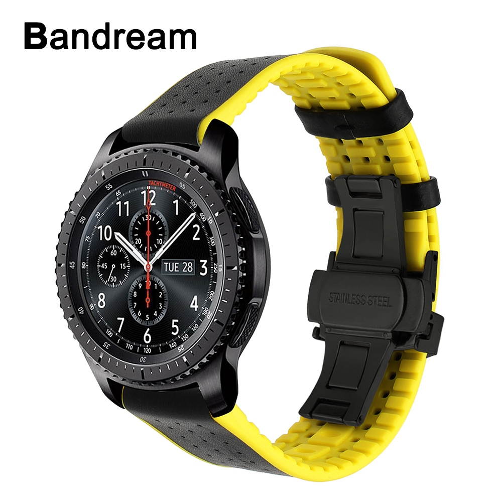 Genuine Leather + Silicone Rubber Watchband for Samsung Gear S3 Classic Frontier Quick Release Watch Band Butterfly Buckle Strap genuine leather watch band strap for samsung galaxy gear s2 classic r732 black