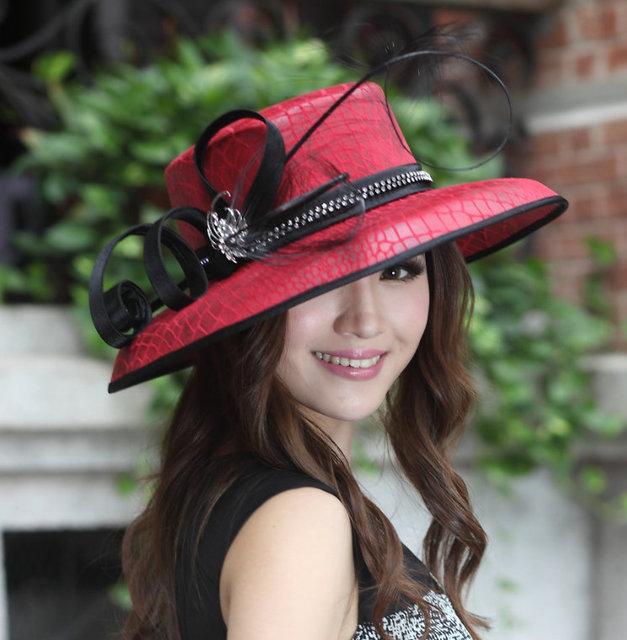 Envío Gratis Nuevo Diseño de Vestido de Satén Sombrero de Vestido de Las Mujeres Sombreros de Ala Grande Muchachas Rojas de la Iglesia Sombreros de Ala Del Sombrero
