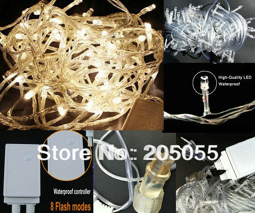 10m 100led Christmas Fairy String Light Waterproof 8 Changing Mode Back Splice To Series Connect Eu 220v Outdoor Xmas Warm White In Holiday Lighting From