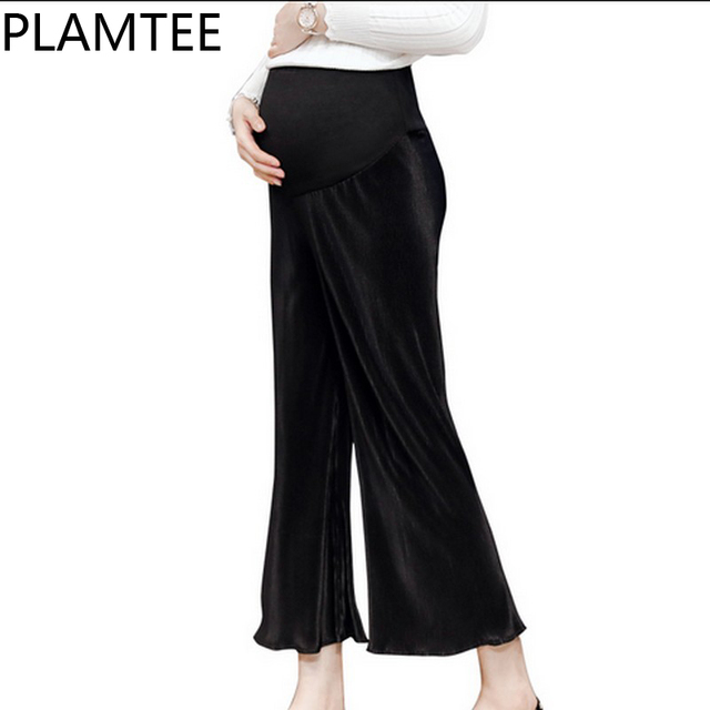 d41d1bcc662f6 PLAMTEE Loose Leisure Pregnancy Clothes Solid Color Winter Maternity  Trousers Pleated Wide Leg Nine Pants For Pregnant Women