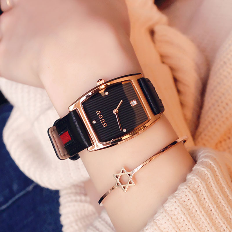 Fashion Trendy Leather Womens Watch Casual Lady Fashion WristWatch Calendar Waterproof Quartz Watches women bracelet watchFashion Trendy Leather Womens Watch Casual Lady Fashion WristWatch Calendar Waterproof Quartz Watches women bracelet watch