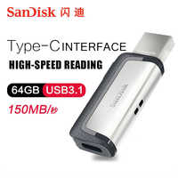 Clé USB sandisk 128 go lecteur de stylo extrême haute vitesse type-c USB3.1 double clé USB OTG 64 go PenDrives 130 M/S PenDrives