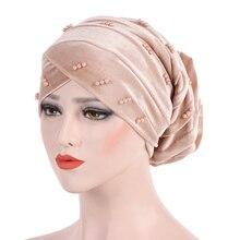 アフリカスタイルイスラム教徒ターバンインドキャップヘアアクセサリーファッション女性ビーズ編組バンダナ、ターバンラップキャップスカーフ