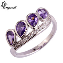 lingmei Fashion Elegent Women Rings Water-Drop Amethyst White Topaz 925 Silver Ring Size 6 7 8 9 10 Valentines Gift Wholesale