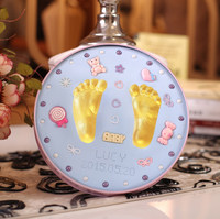 baby care Air Drying Soft Clay Baby Handprint Footprint Imprint Kit Casting Parent child hand ink pad fingerprint