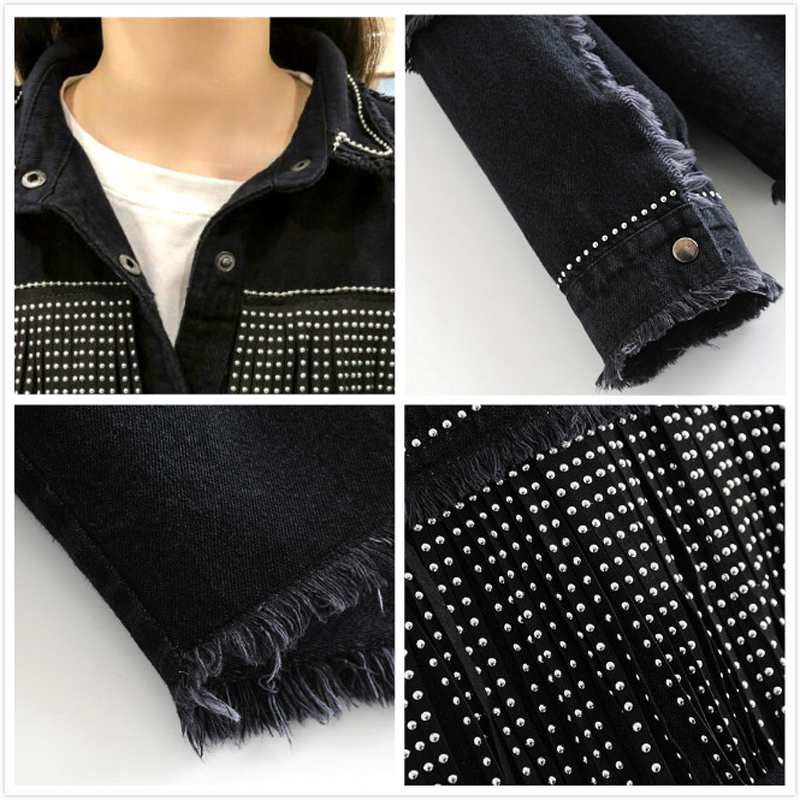 Image 5 - High Quality Spring Black Loose Denim Jacket Women Rivet Tassel Jean Jacket Coat Long Sleeve Streetwear Feminine Coat Outerwear-in Jackets from Women's Clothing