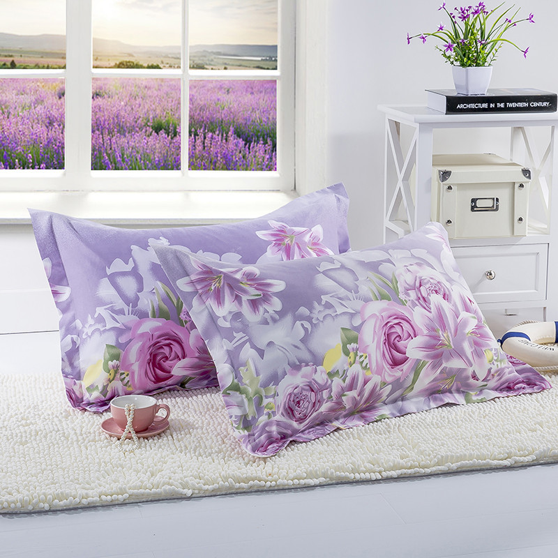 1pc 100% Polyester Pillow Case Beauty Flowers Printing Pillowcase Home Bedroom Pillow Cases 48cm*74cm XF340-6