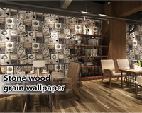 beibehang wallpaper for walls 3 d Vintage stone wood pattern mural wallpaper tea shop cafe theme decoration wallpaper Vinyl wall