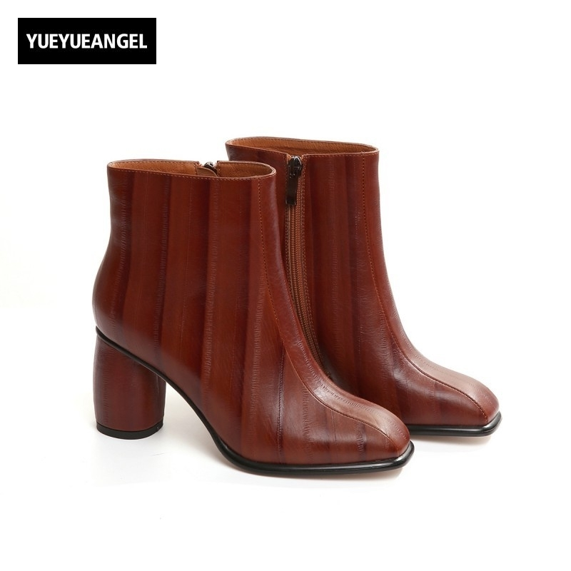 Winter New Leather High Heel Boots Cowhide Handmade Fashion High-End Shoes Thick Fleece Lining Women Zipper Shoes Ankle Boots handmade women shoes leather ankle boots 41 42 high heel women boots black brown thick heel shoes handmade vintage xiangban