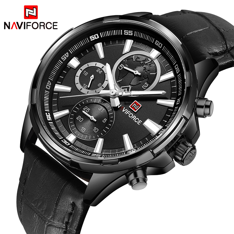 NAVIFORCE Mens Sport Watches Men 24 hour Date Quartz Clock Top Brand Luxury Male Fashion Leather Waterproof Military Wrist Watch men sport watch naviforce luxury brand men military quartz watches fashion casual leather strap auto date 30m waterproof watches
