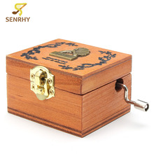 SENRHY Retro Wooden Wind-Up Tiny Music Box Castle In The Sky For Music Lover Musical Instruments Romantic Gift High Quality